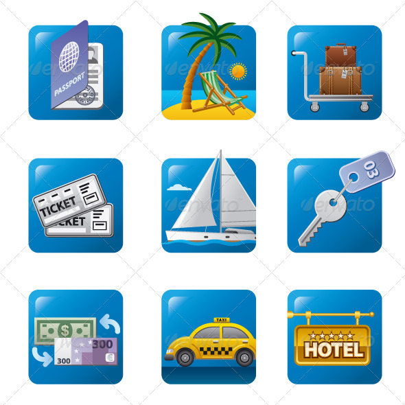 GraphicRiver Tourism Icon Set 7488303