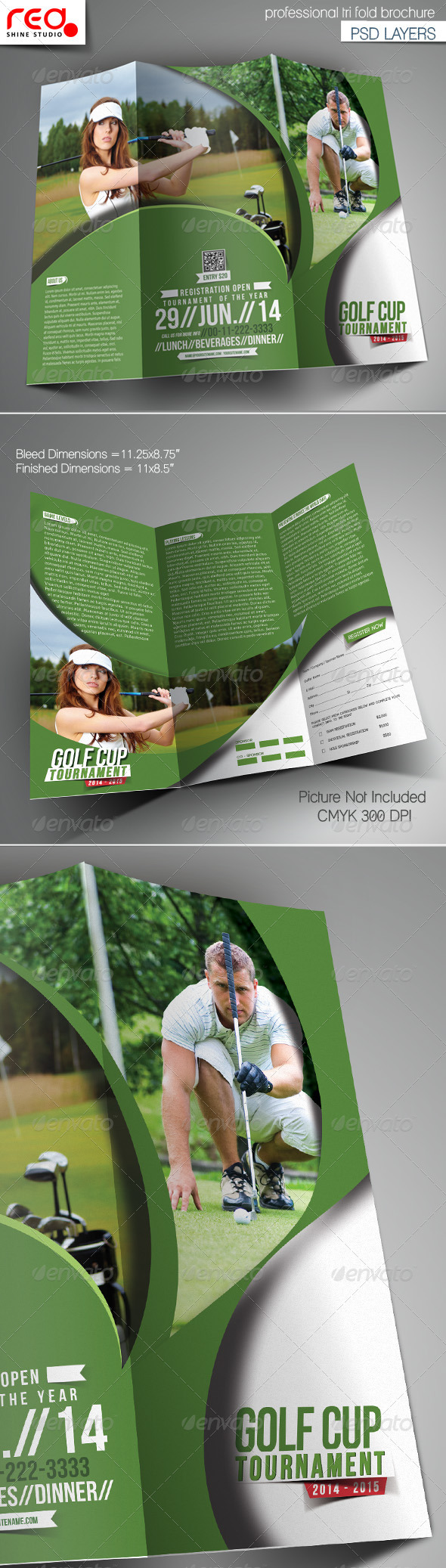 GraphicRiver Golf Cup Tournament Trifold Brochure Template 7489002