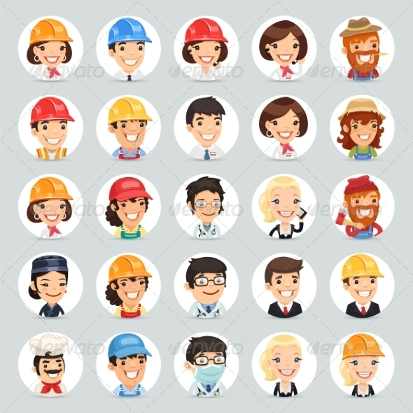GraphicRiver Professions Vector Characters Icons Set1.2 7489268