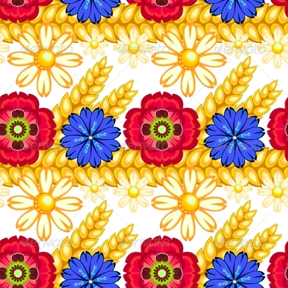 GraphicRiver Cornflower Camomile and Poppy Seamless Pattern 7489446