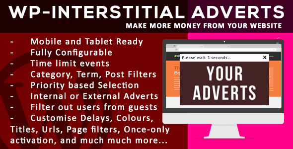 Easily monetize your content with the complete WP Interstitial advertising plugin for wordpress. With very powerful customization features, you will be able to