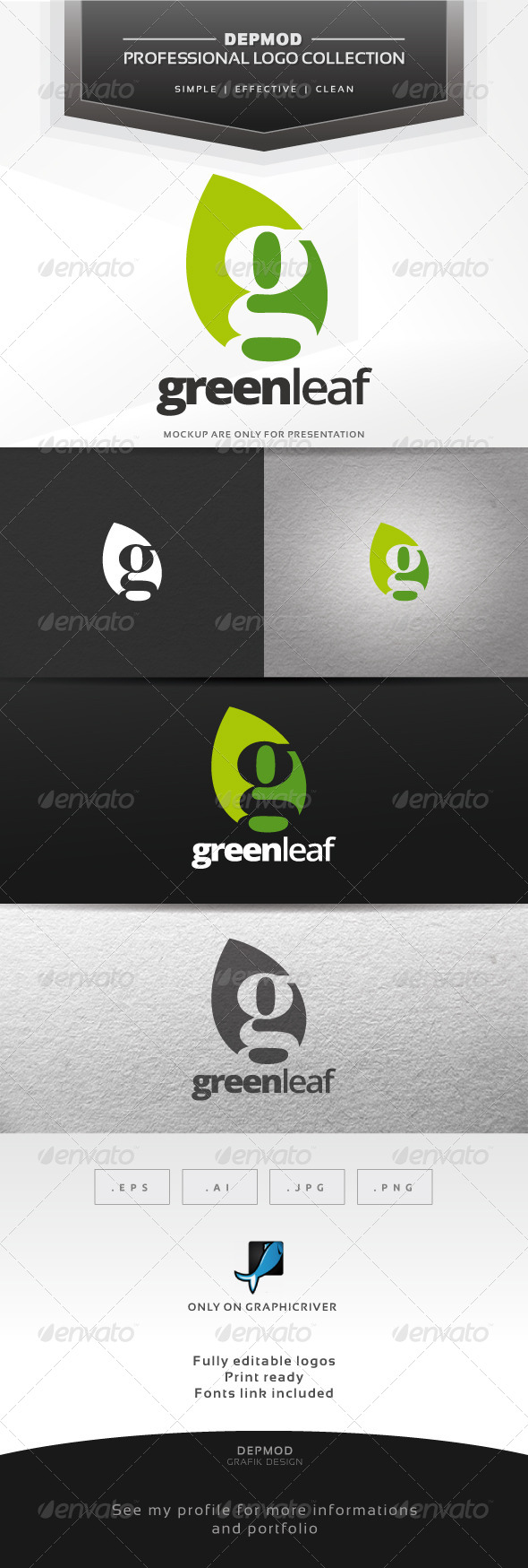 GraphicRiver Green Leaf Logo 7489544