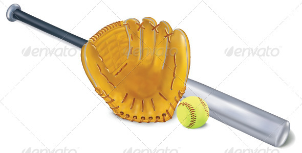 GraphicRiver Baseball Equipment Vector Set 7489619