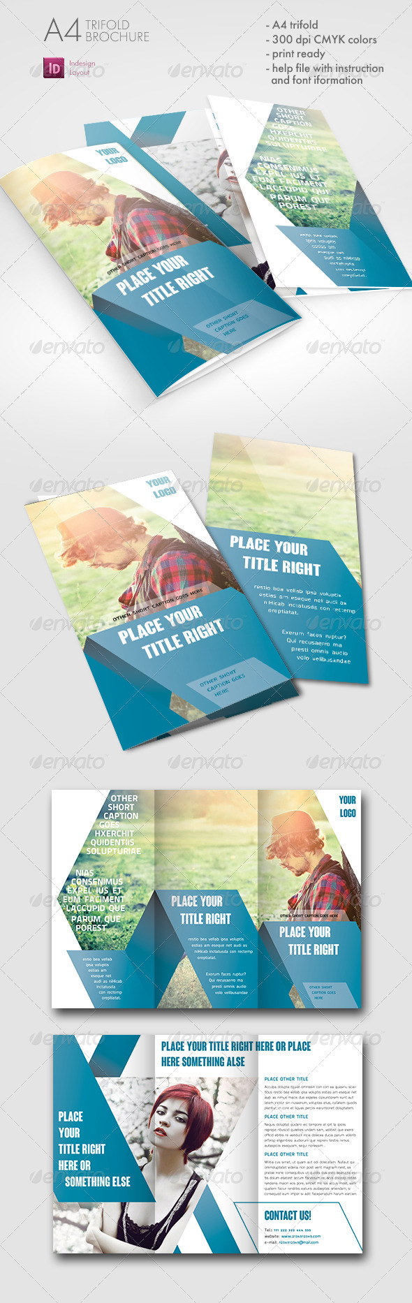 GraphicRiver Striped Trifold Brochure 7489867