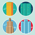 City icons in flat style on round emblems - PhotoDune Item for Sale
