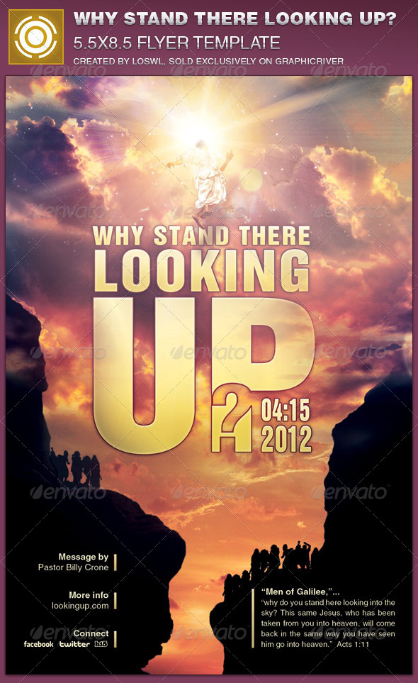 GraphicRiver Why Stand There Looking Up Church Flyer Template 7490442