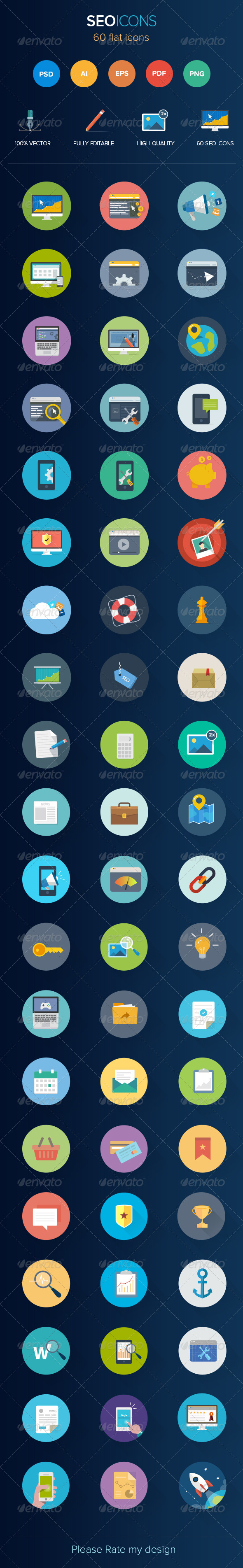 GraphicRiver 60 Seo Flat Icons 7491398