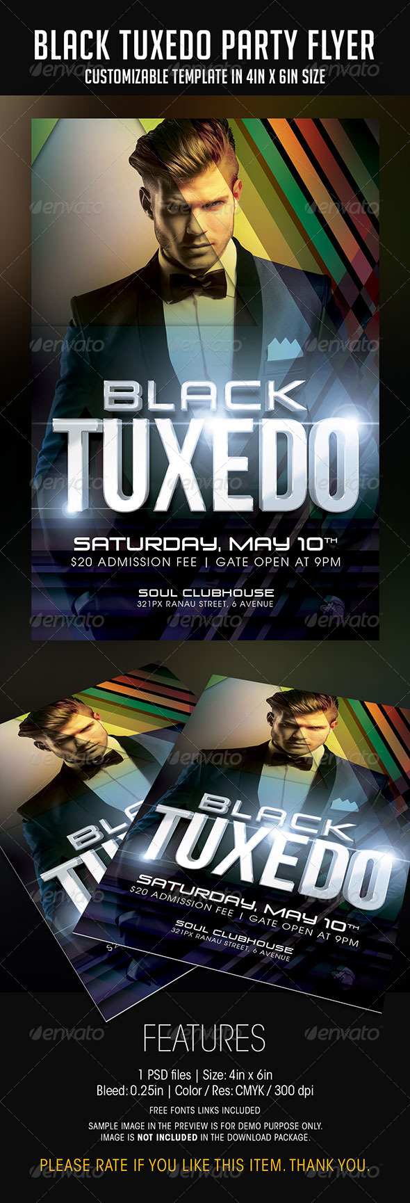 GraphicRiver Black Tuxedo Party Flyer 7492304
