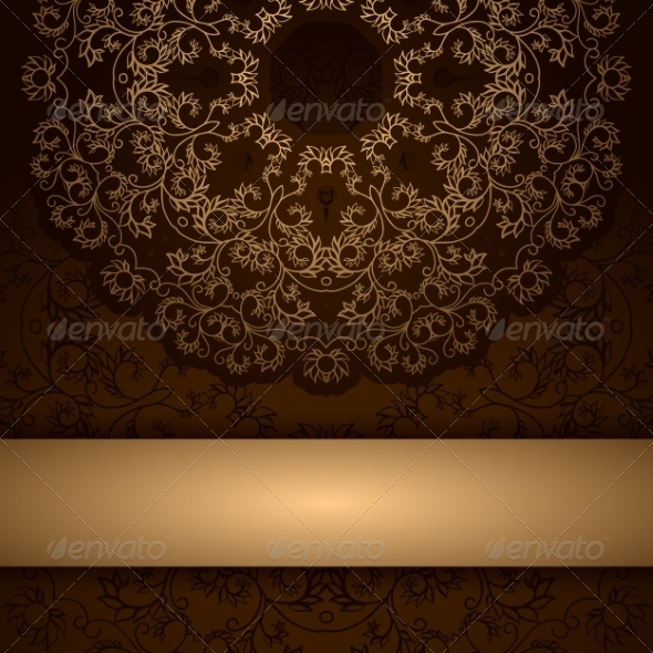 GraphicRiver Brown Invitation Card with Round Floral Ornament 7492468