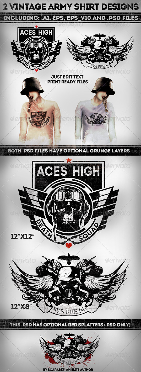 GraphicRiver 2 Military Vintage T-Shirt Designs 7492608
