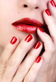Sensual Woman Red Lips. Red Nail Polish - PhotoDune Item for Sale