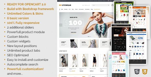 ThemeForest Stowear Modern & Responsive OpenCart Theme 7494228