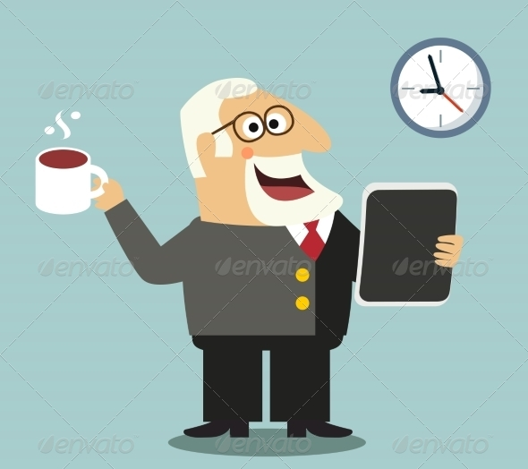 GraphicRiver Boss with Tablet and Coffee 7496959