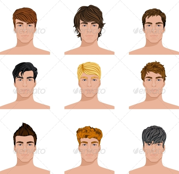 GraphicRiver Different Hairstyle Men Faces Icons Set 7497165