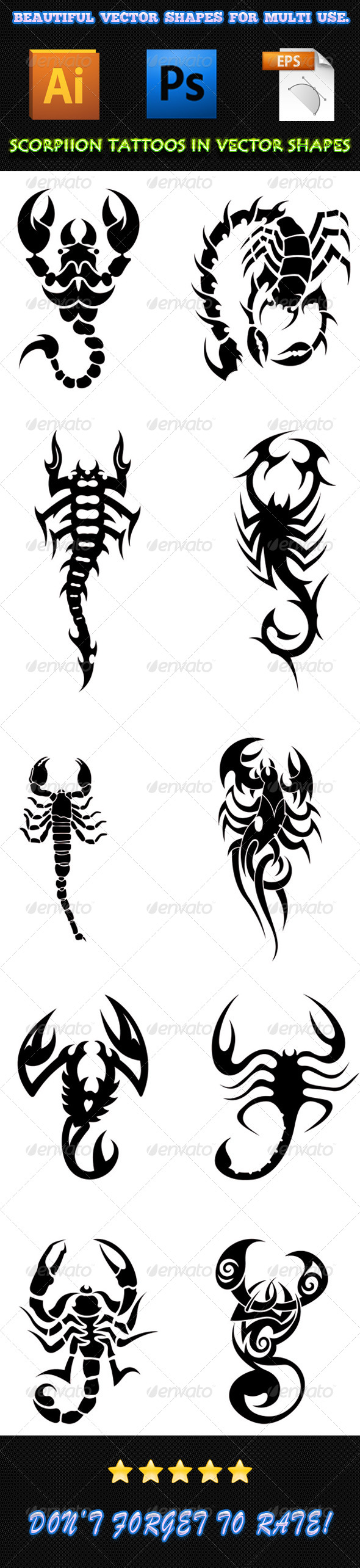 GraphicRiver Scorpion Tattoos 01 7497170