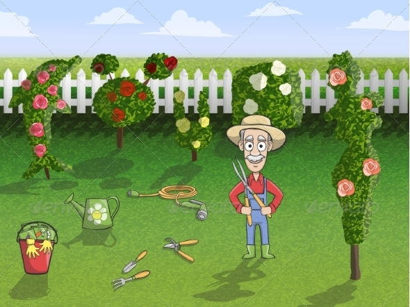 GraphicRiver Happy Gardener Character at Work 7497172