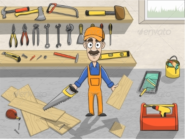 GraphicRiver Carpenter Character at Work 7497176