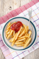 french fries with ketchup on a plate - PhotoDune Item for Sale