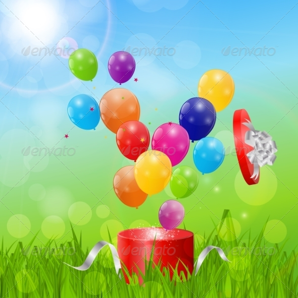 GraphicRiver Color Glossy Balloons Birthday Card Background 7497819