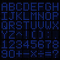 Digital Alphabet and Number. Blue electronic LED. Vector - PhotoDune Item for Sale