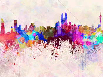 Kuala Lumpur skyline in watercolor background - PhotoDune Item for Sale