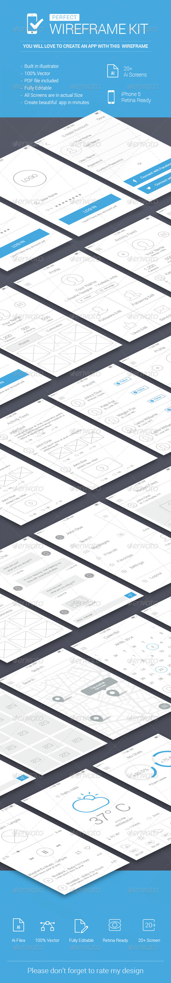GraphicRiver iOS Wireframe Kit 7491852