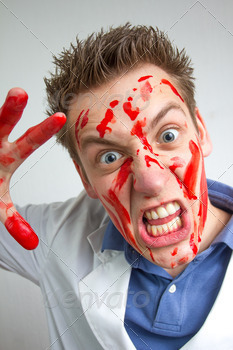 crazy funny guy covered in blood - PhotoDune Item for Sale