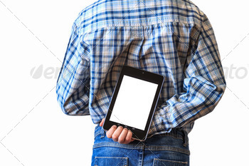 Boy holding tablet computer behind his back - PhotoDune Item for Sale