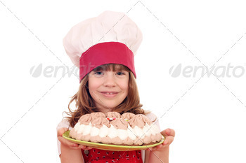 beautiful little girl cook with cake - PhotoDune Item for Sale