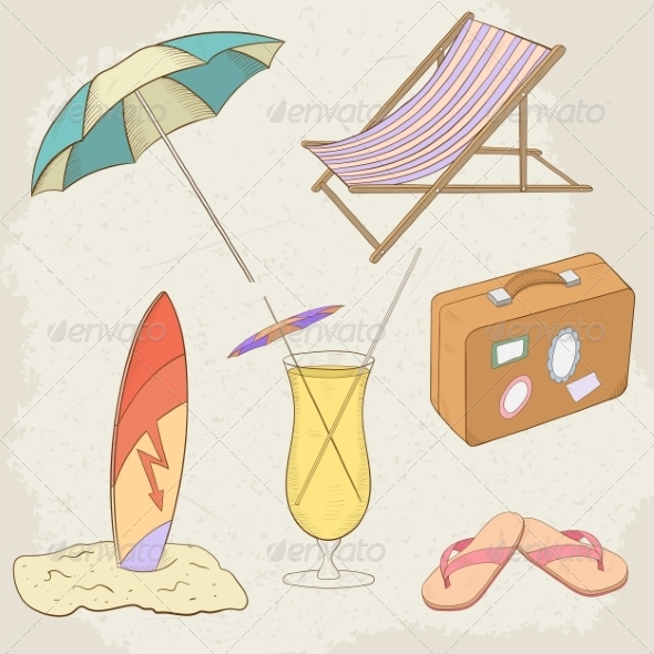 GraphicRiver Summer Holiday Hand Drawn Icons 7499083