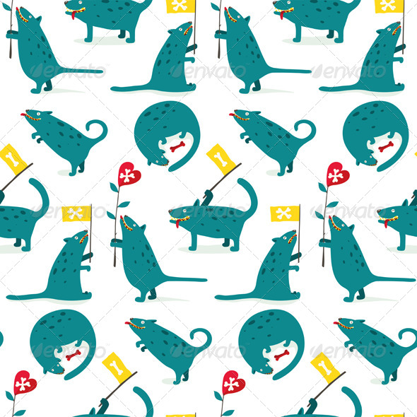 GraphicRiver Cartoon Monster Dogs Seamless Pattern 7499678
