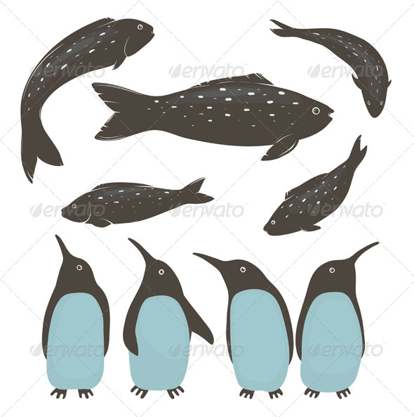 GraphicRiver Penguins and Fish Collection 7499714