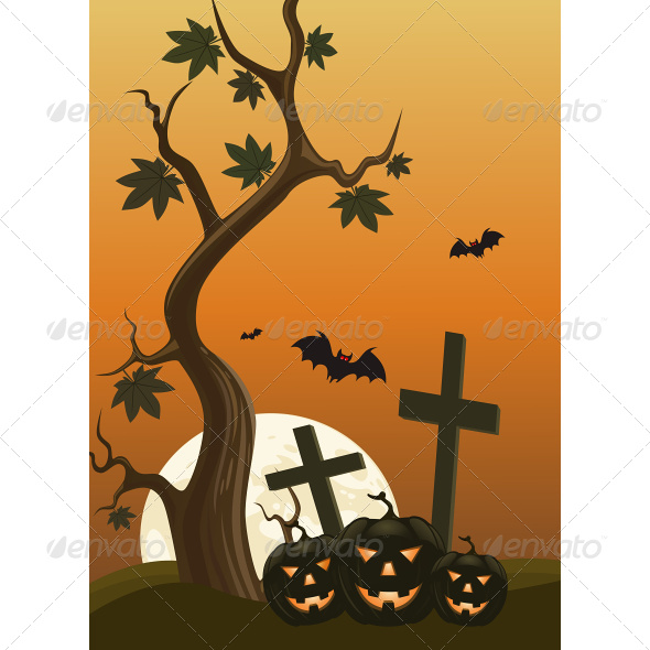 GraphicRiver Halloween Background with Pumpkins 7499725