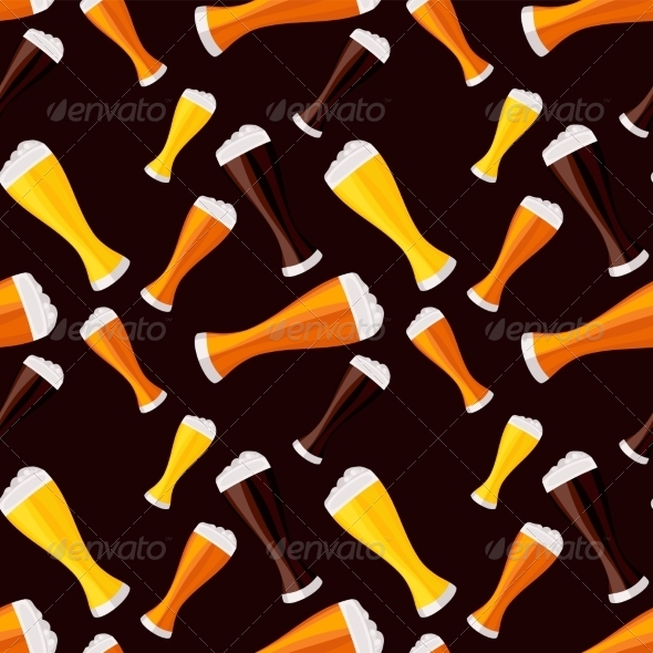 GraphicRiver Light Dark and Red Beers Seamless Pattern 7499852