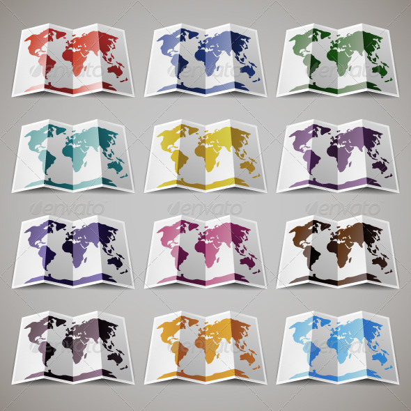 GraphicRiver 12 Maps of the World 7500084