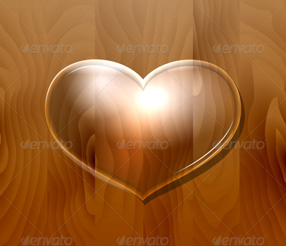 GraphicRiver Glass Heart on Wooden Wall 7500100