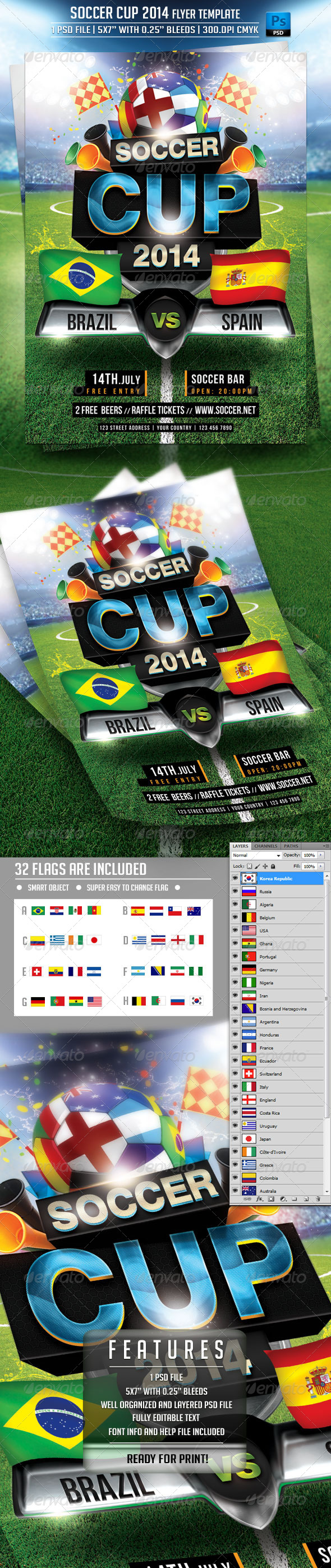 GraphicRiver Soccer Cup 2014 Flyer Template 7493748