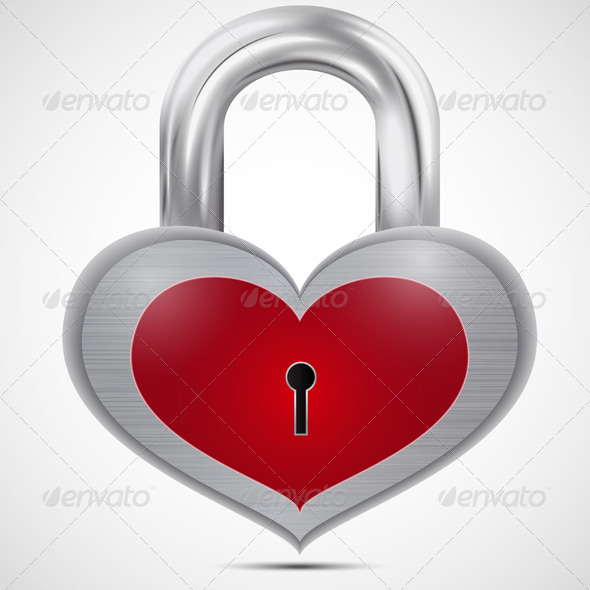 GraphicRiver Closed Metal Heart Padlock 7500661
