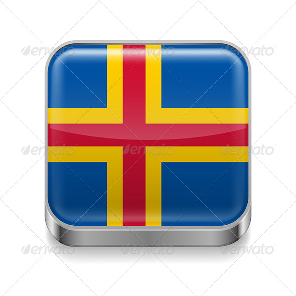 GraphicRiver Metal Icon of Aland Islands 7502108