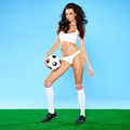 Beautiful busty woman soccer player in lingerie - PhotoDune Item for Sale