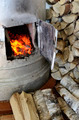 old stove flame and birch firewood - PhotoDune Item for Sale