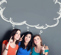 three girl best friend thinking - PhotoDune Item for Sale