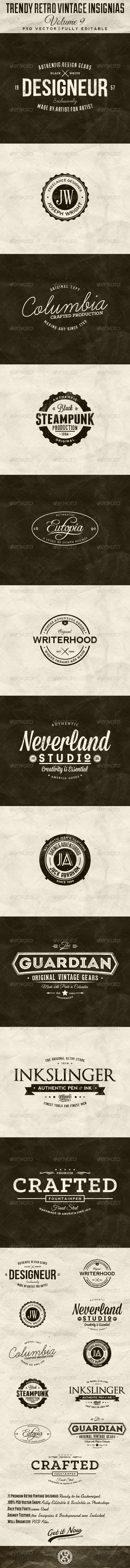 GraphicRiver Trendy Retro Vintage Insignias Volume 9 7504941