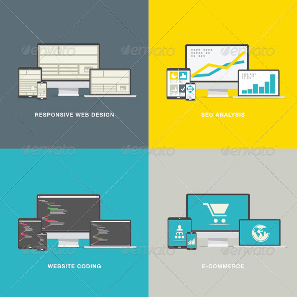 GraphicRiver Modern Flat Style Website Design Concepts 7505198