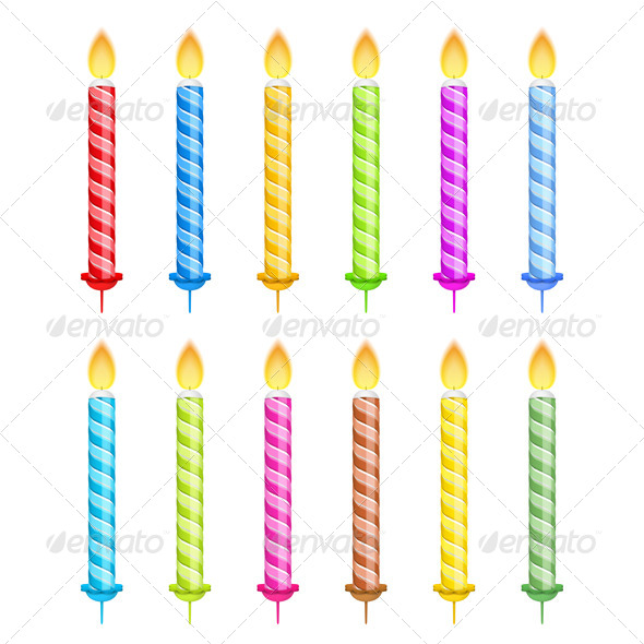 GraphicRiver Striped Birthday Candles 7505679