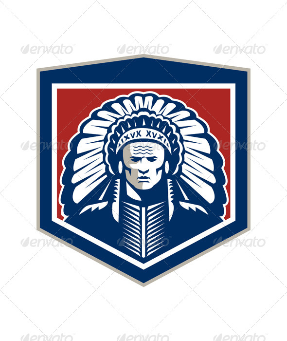GraphicRiver Native American Chief Shield Retro 7505890