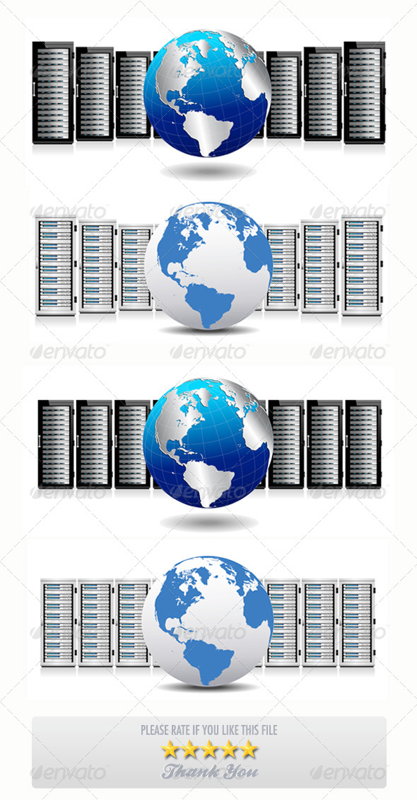 GraphicRiver Servers with World Globe Concept 7502185