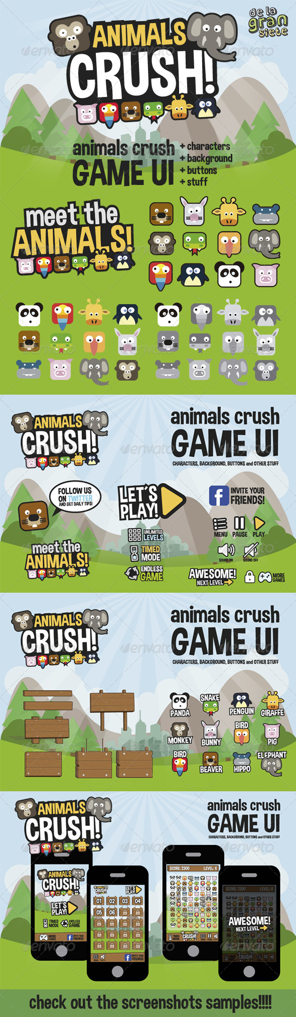 GraphicRiver Animals Crush Game UI 7507834