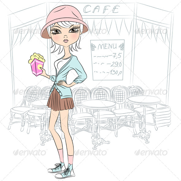 GraphicRiver Fashion Girl with Popcorn 7508452