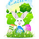 Easter Card with Landscape, Rabbit and Eggs - GraphicRiver Item for Sale